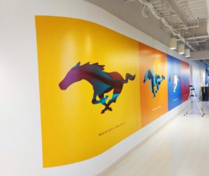 Wall mural for commercial building